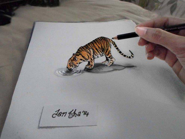 3d tiger drinking