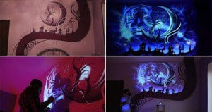 Bedroom Turned Into Ultra Violet Extravaganza