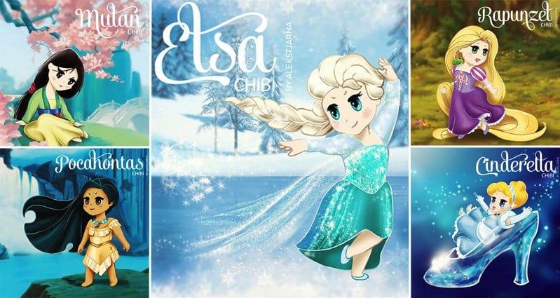 Your Favorite Disney Princesses Drawn In Super Cute Chibi