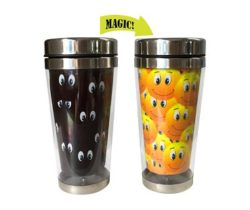 Smiley Faces Heat Changing Travel Mug