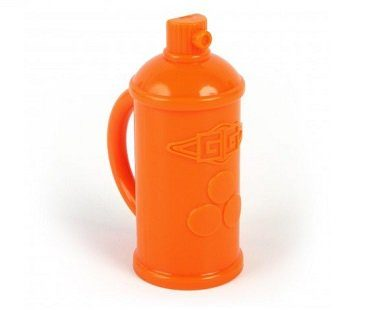 Spray Paint Can Baby Rattle orange