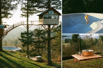 Treehouse Complex With Skate Bowl And Hot Tub