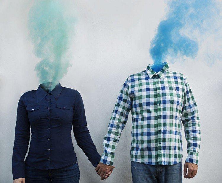 bodies hands smoke heads