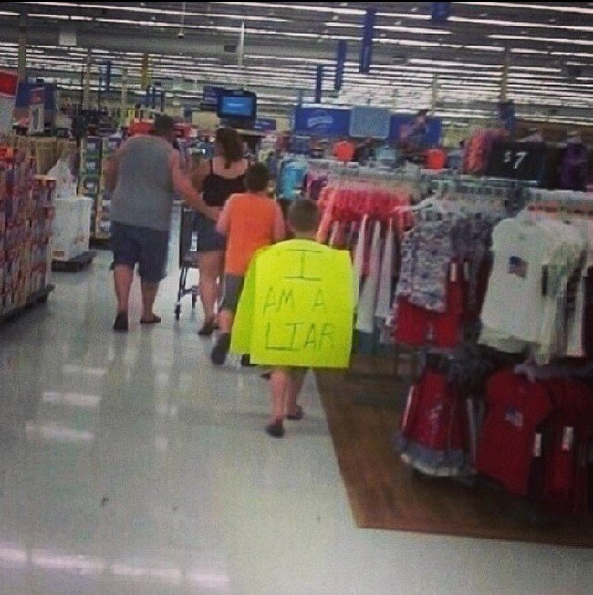 boy liar sign walmart