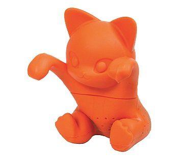 cat tea infuser orange