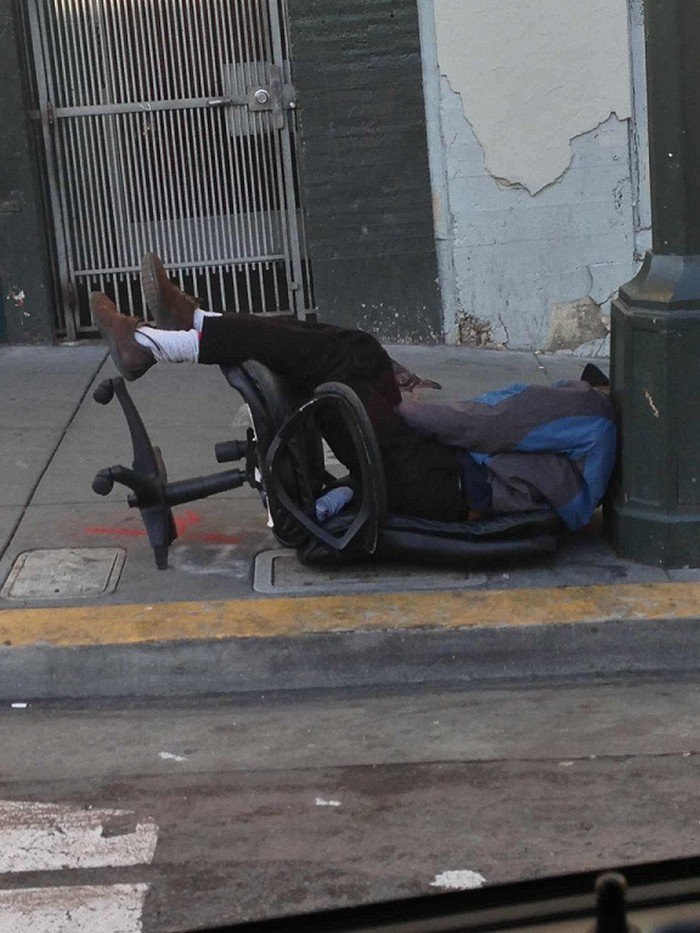 chair man napping outdoors