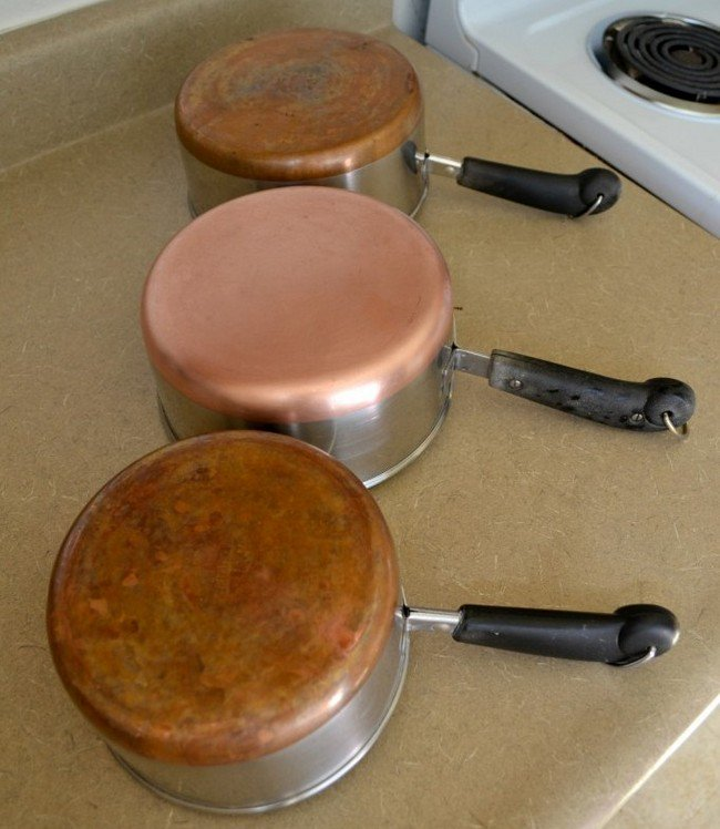clean dirty copper pots
