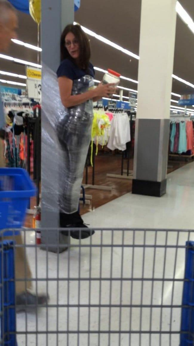 clingfilmed woman walmart