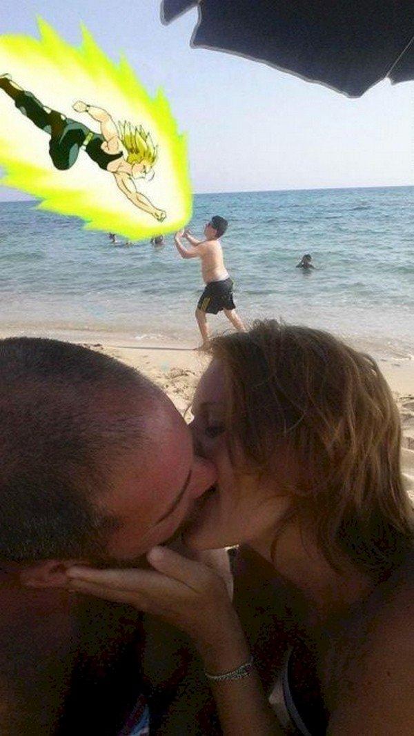 couple kissing goku boy