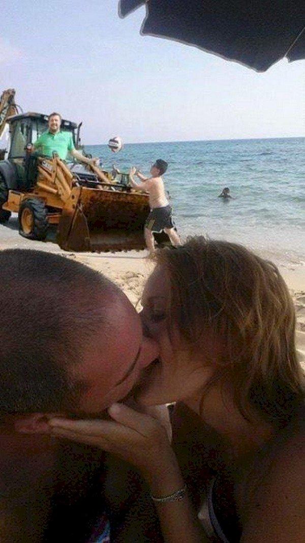 couple kissing man bulldozer boy