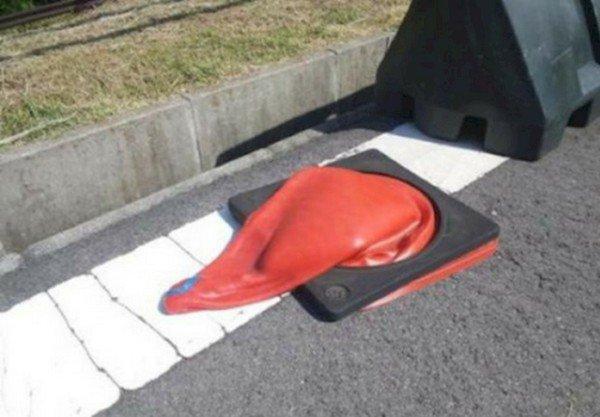 deflated traffic cone