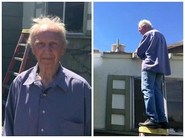 elderly man roof
