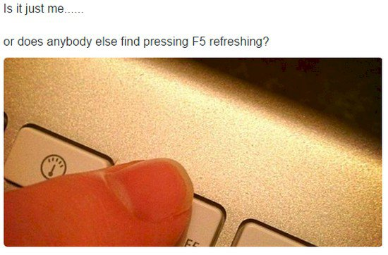 finger pressing F5 button