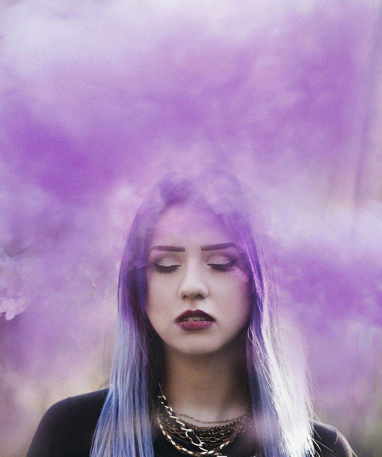 girl purple hair smoke