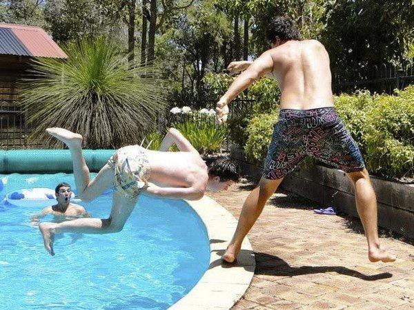 guy falling pool