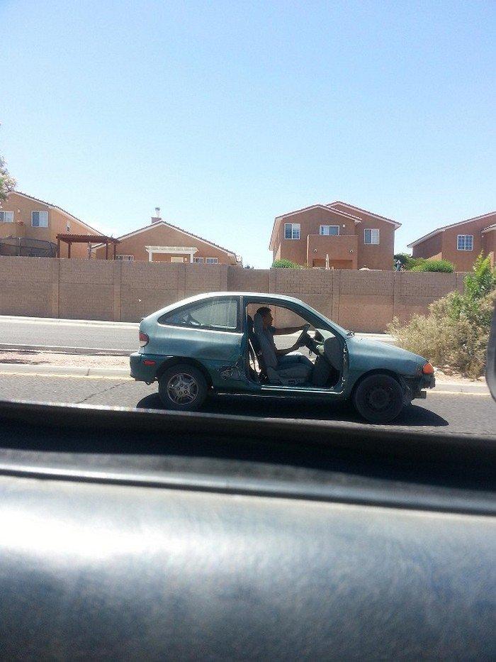 guy no door car