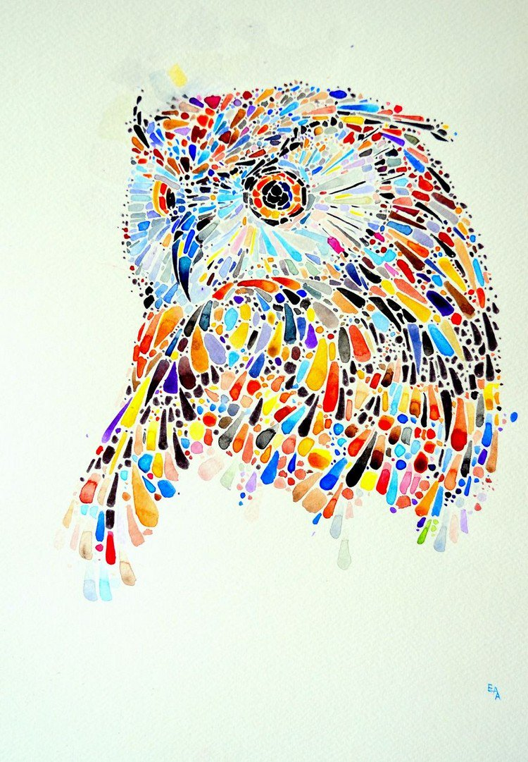 Ana Enshina Creates Colorful Dotted Animal Paintings