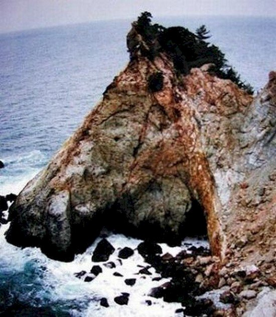 rocky coastal area shaped like horses head