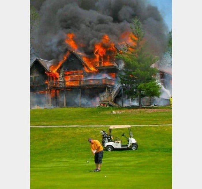 house fire man playing golf
