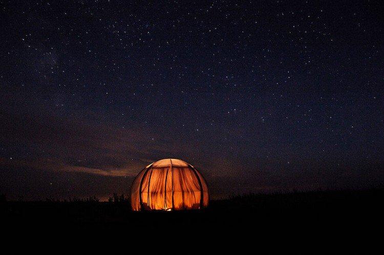 illuminated dome against night sky