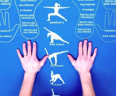instructional yoga mat blue