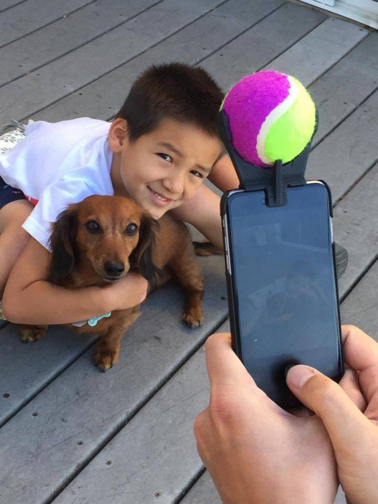 kid dog selfie