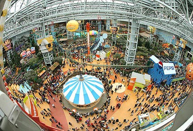 fish eye view of mall of america