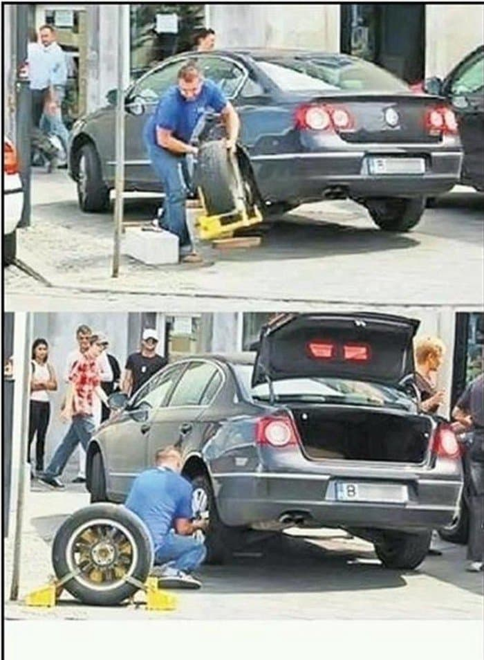 man removing tire and clamp