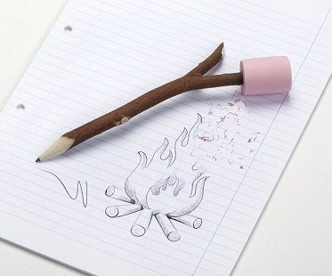 marshmallow eraser and twig pencil