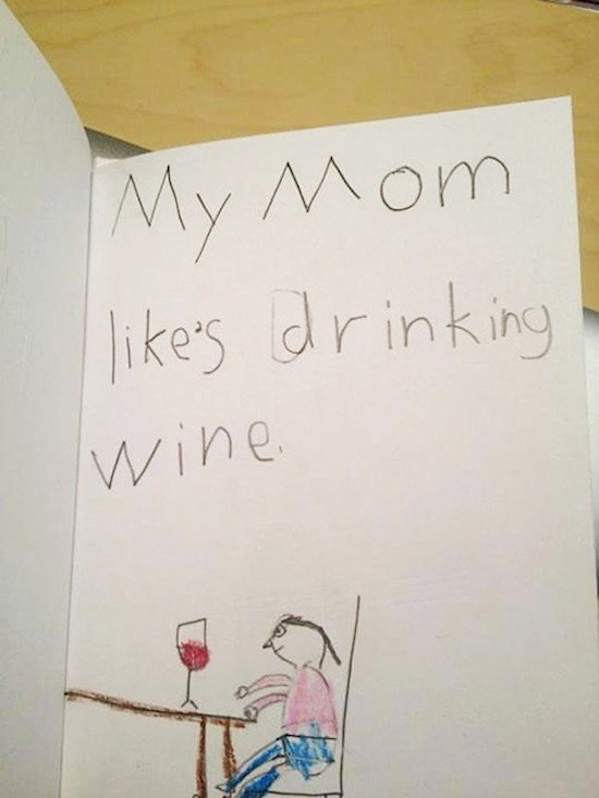mom drinks wine