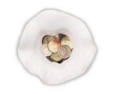 money bag coin bank inside