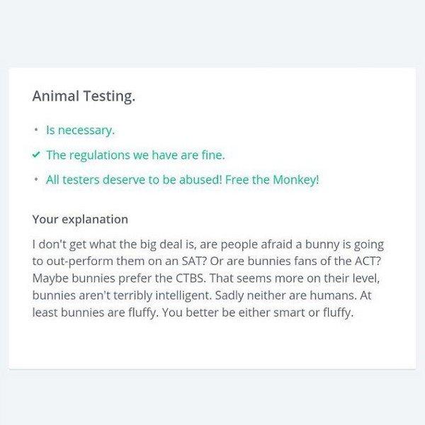 okcupid question animal testing