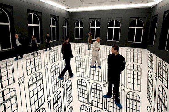 black and white windows room optical illusion with people standing