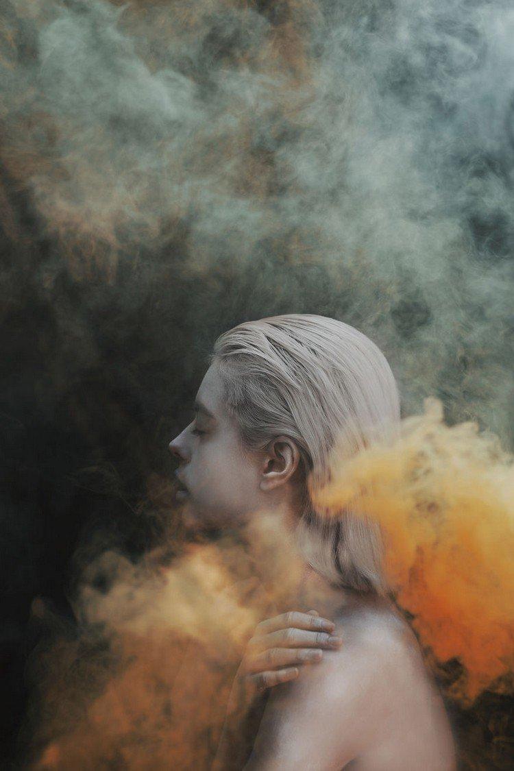 orange smoke girl