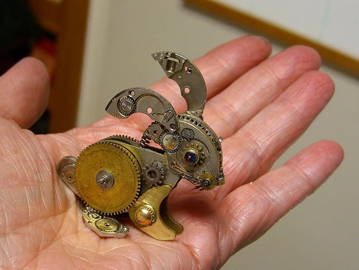 recycled-watch-parts-steampunk-sculptures-bunny