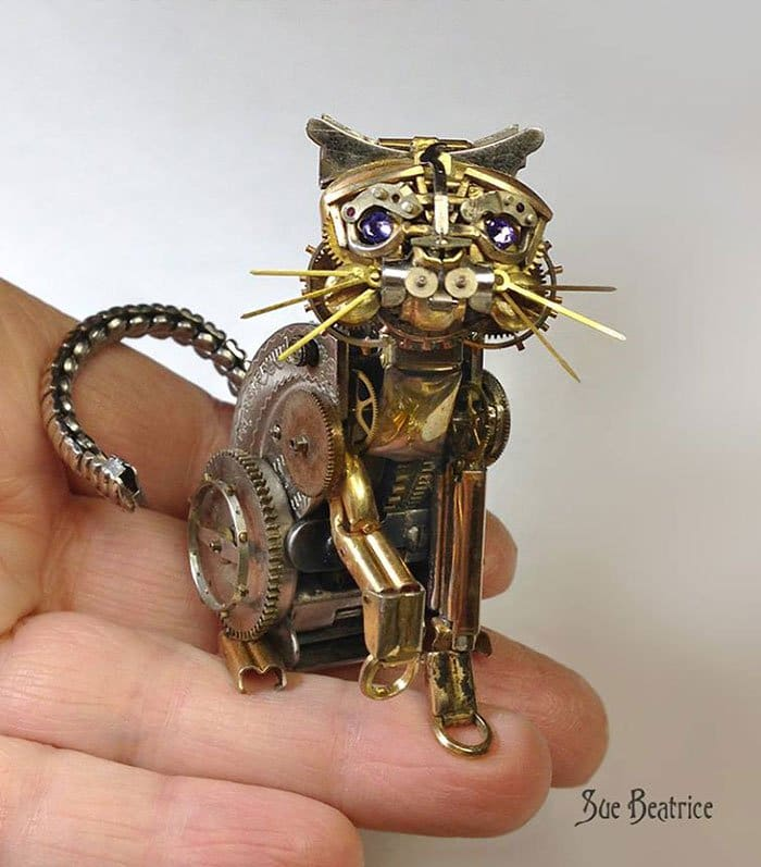 recycled-watch-parts-steampunk-sculptures-cat