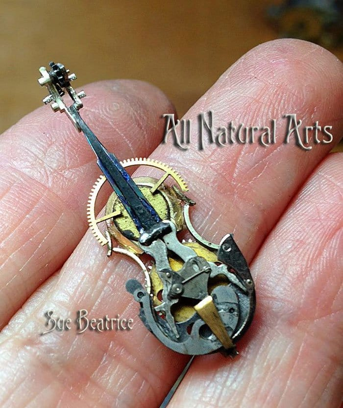 recycled-watch-parts-steampunk-sculptures-cello