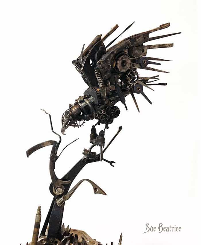 recycled-watch-parts-steampunk-sculptures-crow