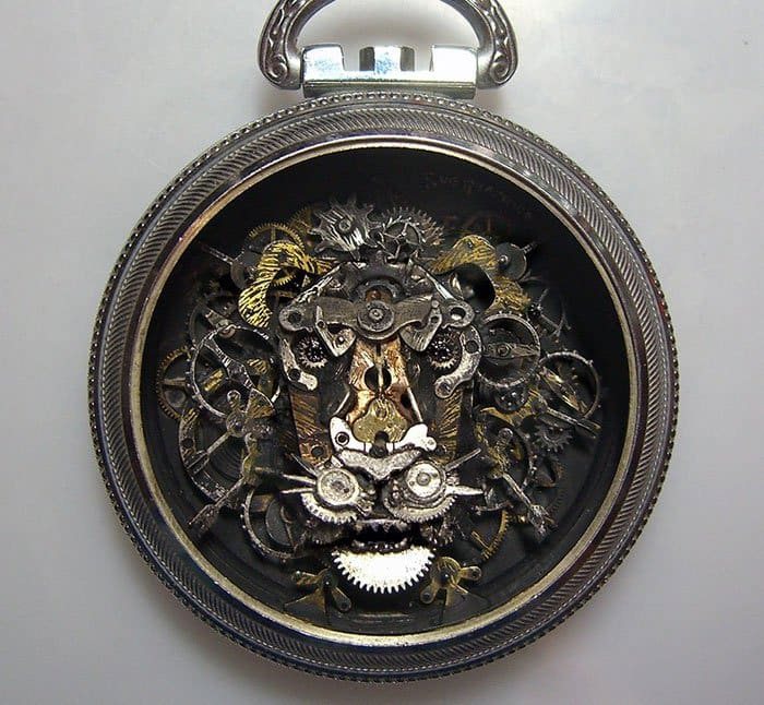 recycled-watch-parts-steampunk-sculptures-lion