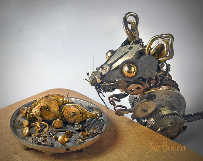 recycled-watch-parts-steampunk-sculptures-mouse