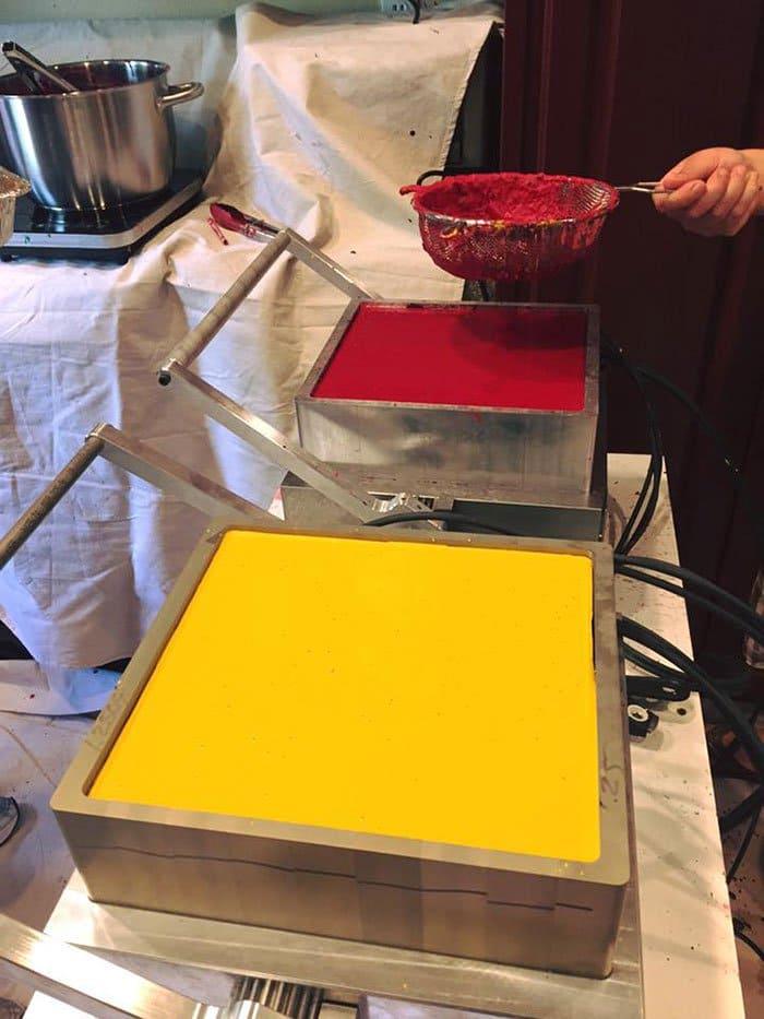 red yellow crayon wax mold