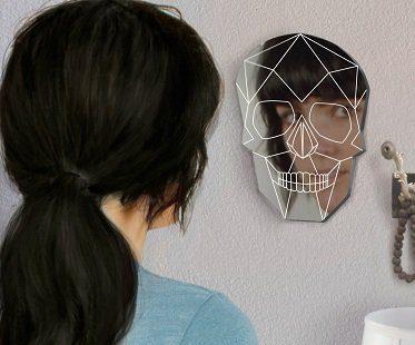 skull wall mirror