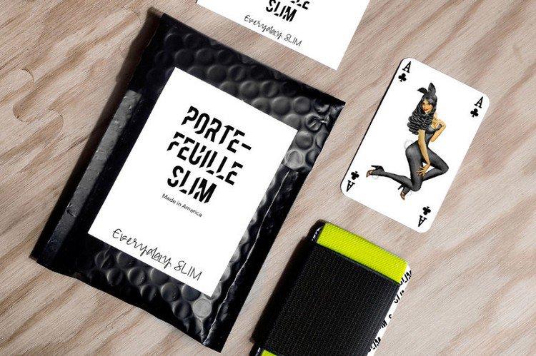 slim wallet card table