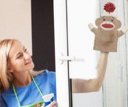 sock monkey dusting mitt