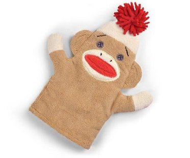 sock monkey dusting mitt glove