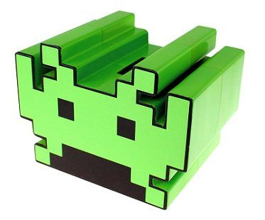 space invaders money box green