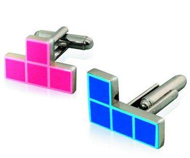 tetris cufflinks pink blue