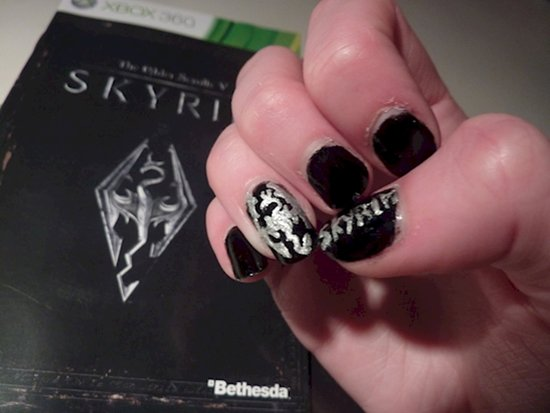 17 awesome examples of video game inspired nail art video game nail art skyrim prinsesfo Images
