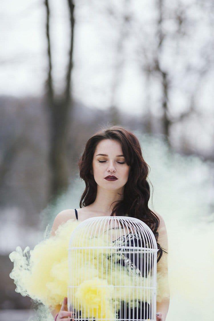 woman cage smoke