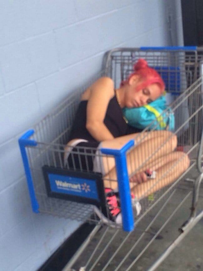 woman sleeping trolley